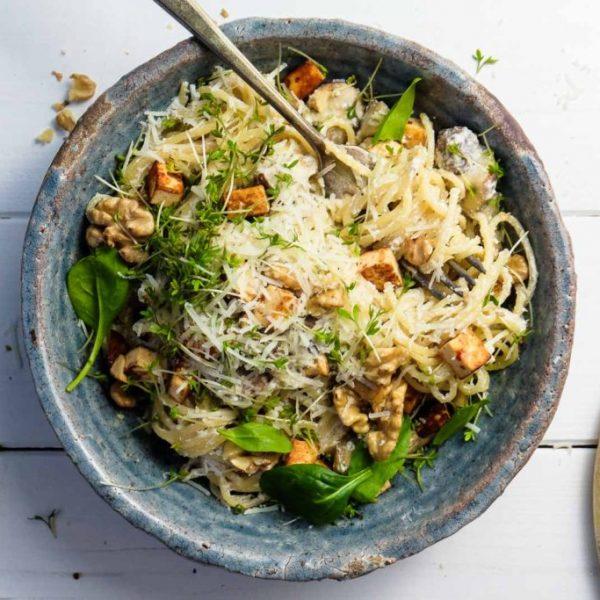 Pilz-Ricotta-Spaghetti