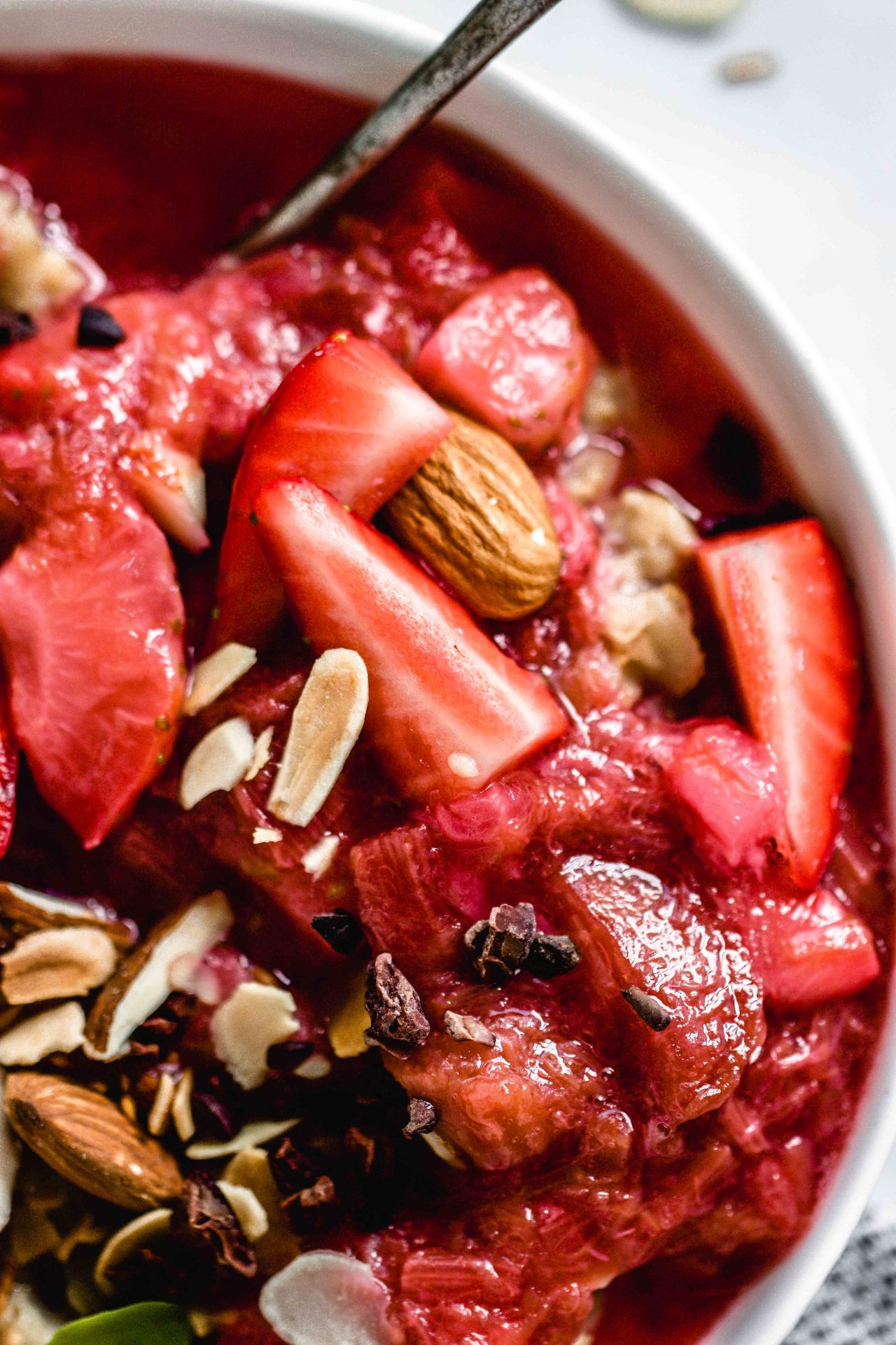 Vanilla Porridge with a Strawberry Rhubarb Compote