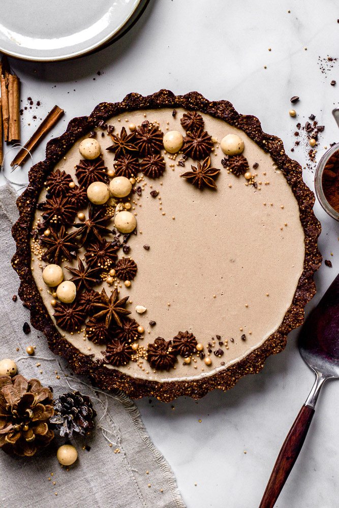 chai tart with cacao crust