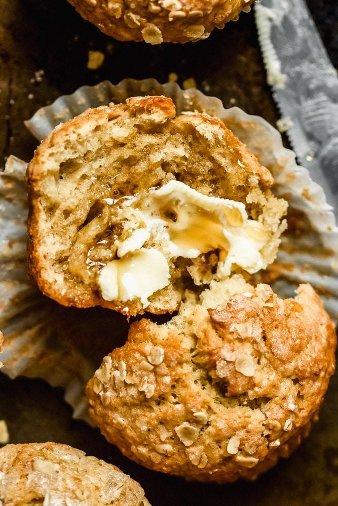 banana bread tahini muffins