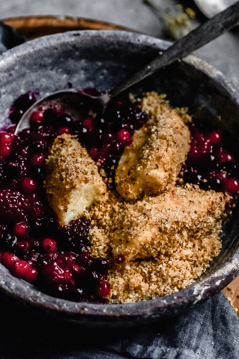 sweet curd dumplings with toasted nut crumbs