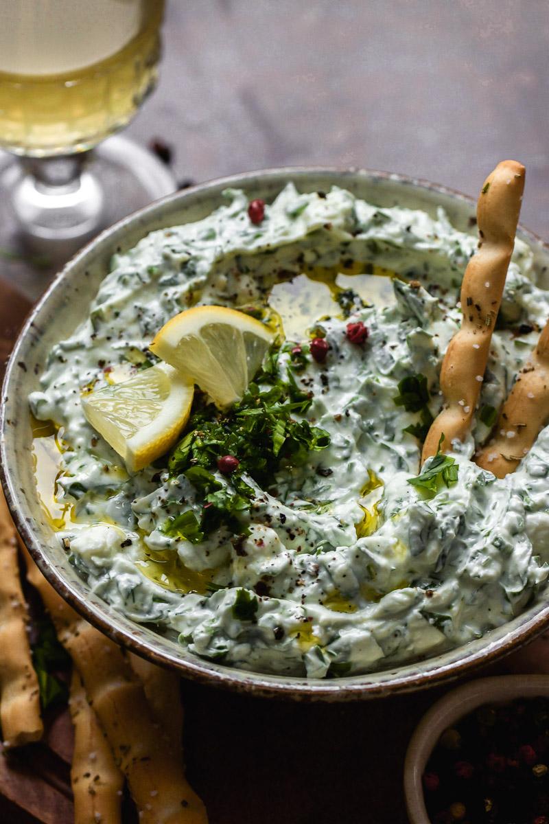 wild garlic dip with feta